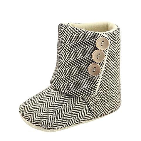 Chaussures Bébé ,Manadlian Toddler Baby Girls Boys Stripe Crib Bottes Soft Suavité Prewalker Chaussures Chaud,pour 0-18 mois (6 ~ 12 Mois, Beige)