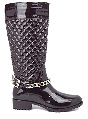 Damen Schwarz Gesteppt Winter Fashion Stiefel Schnalle Reißverschluss bis Quilt Größe 3–8, Braun - Braun - Größe: 36 EU (Stiefel Gesteppte Keil)