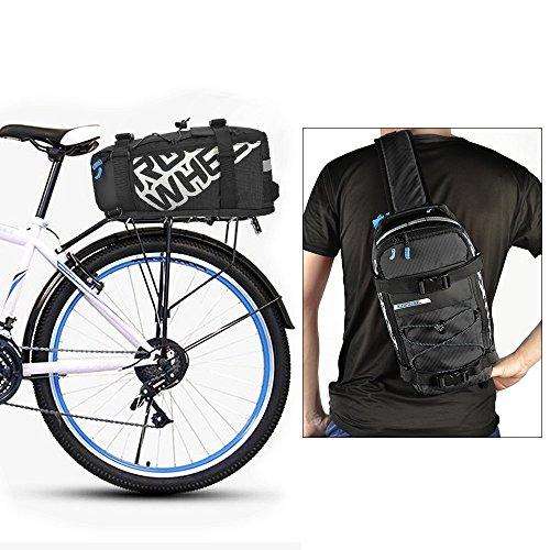 Roswheel 2 in 1 Fahrradtasche Gepäckträgertasche Radtasche Rucksack Wasserdicht 5L mit Reflektierendem Band Outdoor 33 cm x 18 cm x 16 cm (Schwarz)