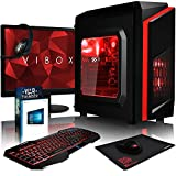 VIBOX Killstreak SA4-212 Komplett-PC Paket Gaming PC - 3,9GHz AMD A4 Dual-Core APU, Desktop Gamer Computer mit Spielgutschein, 22' HD Monitor, Gamer Tastatur & Mouse, Windows 10, Rot Innenbeleuchtung, lebenslange Garantie* (3,7GHz (3,9GHz Turbo) superschneller AMD A4-6300 Dual-Core-APU / CPU-Prozessor, 8GB DDR3 1600MHz RAM, 1TB (1000GB) SATA III HDD 7200rpm Festplatte, 400W 85+ Netzteil, CIT F3 Rot Gaming Geh§use, FM2+ Mainboard, 150Mbs WLAN-Adapter)