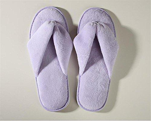 Pantofole non usa e getta Home Attesa Cotone non scivoloso Hotel Drag Hotel Beauty Salon Travel 5pcs , brown Purple