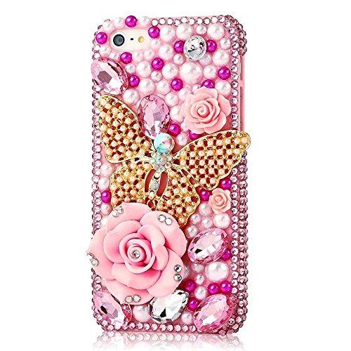 Spritech (TM) 3D handgemachte Mode Frauen Ipod Touch 6 Fall Luxus voller Diamant-Design Bling Rhinestone-Schmetterlings Crytal Blumendekor freie harte Caver iPod Touch 6