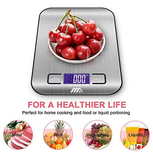 ADORIC Bilancia Digitale da Cucina, Bilancia Digitale Elettronica da Cucina con Alimenti 5kg/11lb e Acciaio Inossidabile(Argento) - 5