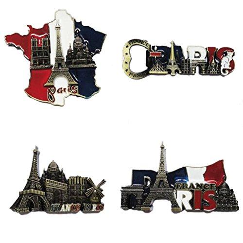 Bella 4pcs Magnet Frigo Aimant Frigo Aimant Réfrigérateur Décor Voyage Vacances Souvenir de Tour Eiffel France Paris Fridge Magnet Sticker