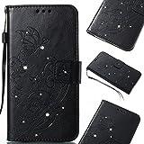 Linvei Hülle für Samsung Galaxy J5 (2016),PU Leder Flip Case Brieftasche Tasche mit Karteneinschub und Ständerfunktion,Punktbohrer Geprägtes Muster - Schwarz