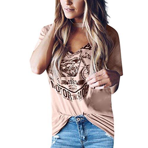 d224839301e06 Tshirt Oberteile Damen Elegant Sommer Kurzarm Choker V-Ausschnitt Bluse  Stilvolle Print Tops (Rosa