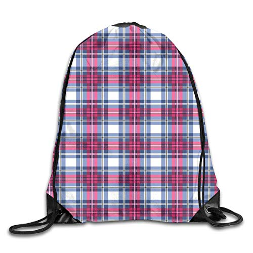 Plaid Twin Size Duvet Cover Set, Classical British Tartan Design With A Modern Look Pink And Blue Tile Pattern,Blue Pink Grey_2Travel Daypack -