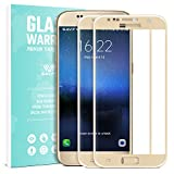 Galaxy S7 Verre Trempé Film Protection écran - SAVFY 2-Pack Glass Screen Protector Vitre Tempered Pleine Couverture Inrayable 9H et Ultra Résistant Indice Dureté pour Samsung Galaxy S7 - Or