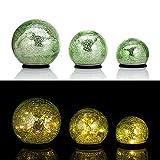 Online-Fuchs 3er SET Glaskugeln mit LED Lichterkette inkl. Timer - In und Outdoor geeignet - Deko Kugeln in Bruchglasoptik - LED Beleuchtung (Hellgrün)