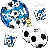 Fußball Football Goal Partyset 60 Teile für 20 Kinder Teller Becher runde Servietten
