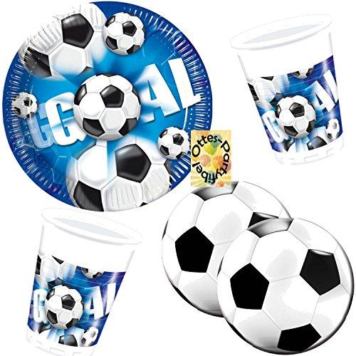 HHO Fußball Football Goal Partyset 60 Teile für 20 Kinder Teller Becher runde Servietten