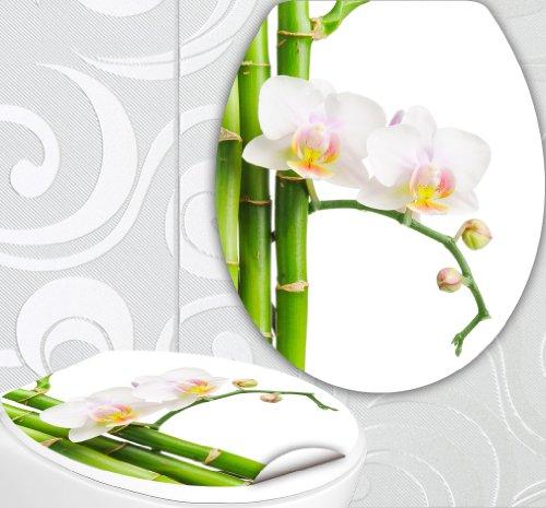 StickerProfis WC Sitz Aufkleber WEISSE ORCHIDEE Design Folie Dekor für Toilettendeckel Klodeckel incl. 2 Fliesenaufkleber
