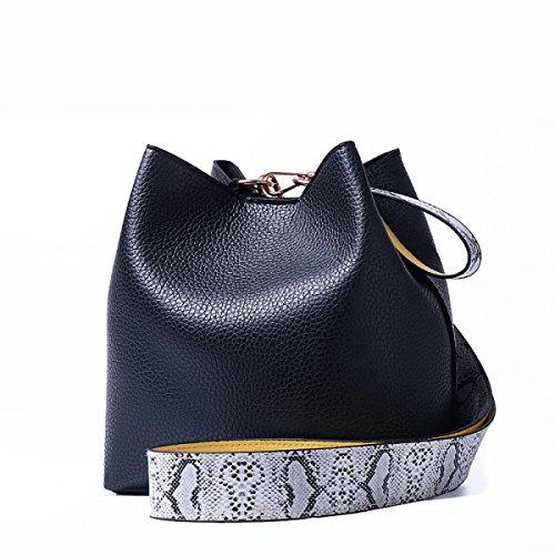 Einfache Black Bag Schultertasche Messenger Frauen Black Geprägte Casual Eimer Handtaschen wnX8qp