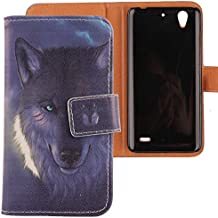Lankashi PU Flip Funda De Carcasa Cuero Case Cover Piel Para Huawei Ascend G630 Wolf Design