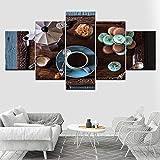 rkmaster-Quadro su Tela Tea Time caffè Macaron Wall Art Immagine 5 Pezzi Carta da Parati Modulare Poster Stampa Soggiorno Decorazione della Casa