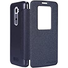 Dolextech Mix Series PU funda case duro de la cubierta de cuero fresco para LG G2 D802 smartphone 100% Nillkin cubierta protectora(Negro)