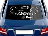 GRAZDesign 740153_70x30_010G Heckscheiben Auto Aufkleber Autoaufkleber Tuning Engel an Bord Engelsflügel (70x30cm//010 weiß)