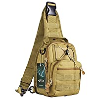 S-ZONE Lightweight Tactical Assault Small One Strap Sling MOLLE Backpack (C-Coyote Tan)