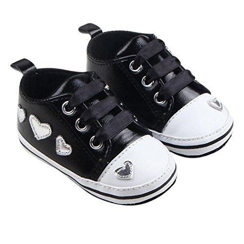 Kingko® 0-18 Monate Säugling Babys weiche Gebunden Decor Sohle Liebes-Herz-PU-Leder-Sneakers Schwarz