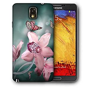 Snoogg Pink Flower And Butterfly Printed Protective Phone Back Case Cover For Samsung Galaxy NOTE 3 / Note III