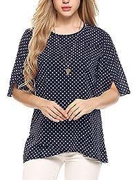 ea8e054e538161 Beyove Damen Somme Chiffon Shirt Lose Fit T-Shirt Oberteile Asymmetrie Tops  mit Punkten