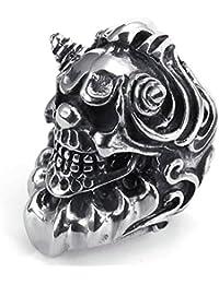 AMDXD Pesada grande gótico retro del cráneo del motorista del acero inoxidable Anillos Hombres