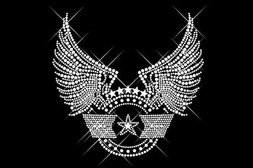 Sexy Air Force (Luxflair© Strass Motiv Airforce und Sterne. Sexy Bügelbild aus Strass, groß / riesig. Glitzerndes Strassstein Bügelmotiv, kristallfarben auf Folie zum Aufbügeln bzw. Aufkleben oder als Applikation. Für Mädchen, Frauen, Girls und Babys. Funkelnde Strass-Steine, auch als Rhinestone Hotfix bekannt, Anleitung inklusive.)