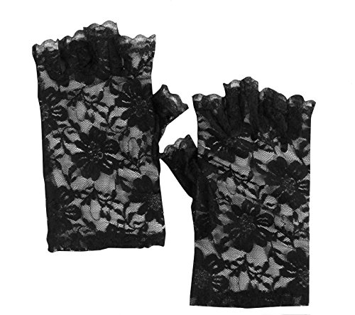 DangerousFX Black Classic Floral Lace Fingerless Gothic Witchy Fancy Dress Party Short Gloves