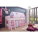 Relita Halbhohes Spielbett Kim mit 4 tlg.Stoff-Set rosa/weiß, Buche massiv weiß lackiert