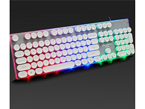 ADream Hintergrundbeleuchtete mechanische Gaming-Tastatur Standardtasten Vintage USB-Tastatur (weiß)
