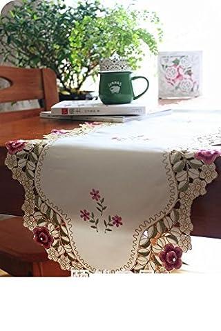 Pastorale Stoff Mode Einfach Europäisch Anmutenden Luxus Tuch,Couchtisch Beistelltisch Rosa Tuch Stickerei Tischläufer-A 38x225cm(15x89inch)