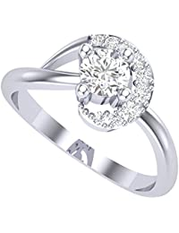 Clara Silvo 18K White gold plated Jamie Sterling Silver Ring With Swiss zirconia For Women and Girls
