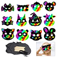KOMIWOO Scratch Animal Masks,24 PCS Magic Rainbow Scratch Paper Art Masquerade Face Mask with Wood Stylus and Elastic Cords for Kids Dress Up Costume Party Favor Craft Supplies