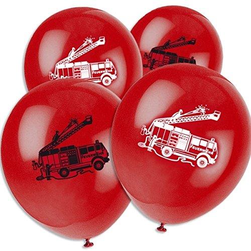 8 Luftballons rot Feuerwehr Feuerwehrfahrzeuge