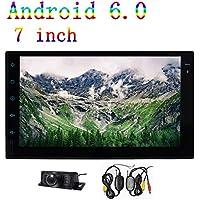Cámara del espejo retrovisor de 7 pulgadas + WFCAM Doble DIN Android 6.0 estéreo del coche Vedio del jugador 1080P HD 1 GB de RAM 16 GB de ROM Quad Core FM / AM RDS GPS Bluetooth Cinco pantalla táctil WIFI 3G / 4G OBD2 SWC