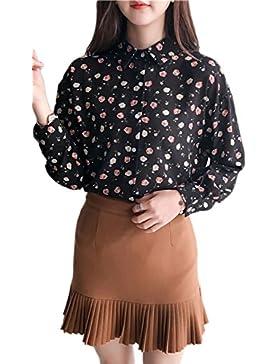 Blusa de moda Floral de cuello de Polo de las mujeres Apriot One Size