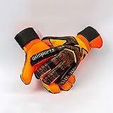 Fvfvfv Torwarthandschuhe Herren Fingerschutz Torwarthandschuhe Kinder Dicker Latex Slip Fußballtraining 6. - 11. Orange (Größe : 8)