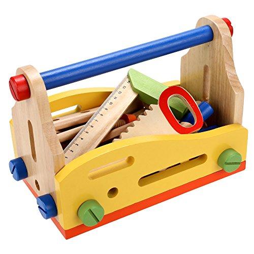 Preisvergleich Produktbild Arshiner Werkzeugkasten Werkzeugkoffer Holzwerkbank Spielwaren mit Werkzeug, Schrauben und Bauelementen - Kompatibel mit Constructor für kleine Handwerker, 51-teilig