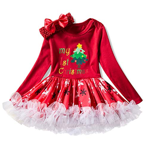 Mädchen Weihnachten Kleid, Baumwolle langärmeligen Rock Anzug Mädchen Kostüm Santa Claus/Socken/Weihnachtsbaum