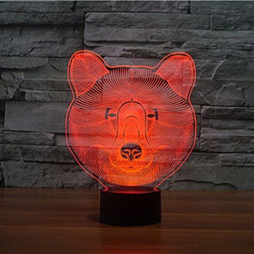 3d ilusión lámpara luz nocturna jawell lobo 7colores cambiantes Touch USB mesa...