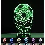 3D Lampe de table LED de 7couleurs Veilleuse Lampe de table pour salon, chambre avec télécommande–5modes différents Fußball + Schädel