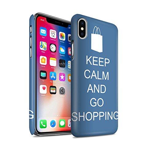 STUFF4 Matte Snap-On Hülle / Case für Apple iPhone X/10 / Schnurrbart/Braun Muster / Bleib Ruhig Kollektion Einkaufen Gehen/Blau