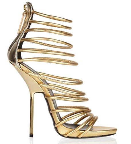 SYYAN Femmes Rome En Cuir Open Toe Main Faites Pompe Robe Sandal Or Gold