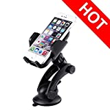 Car Phone Holder, [Newest Version][Top-Rated]Pictek Mobile Phone Car Holder, iphone Car Mount, Adjustable Dashboard Windshield Car Cradle with Strong Sticky Gel Pad and 360 Degree Rotation for iPhone 7/7 Plus/6S/6s Plus/6/5S/5C/SE, Samsung Galaxy Note.etc