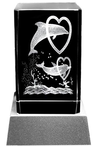 Kaltner Präsente Stimmungslicht - Das perfekte Geschenk: LED Kerze / Kristall Glasblock / 3D-Laser-Gravur DELFINE HERZEN