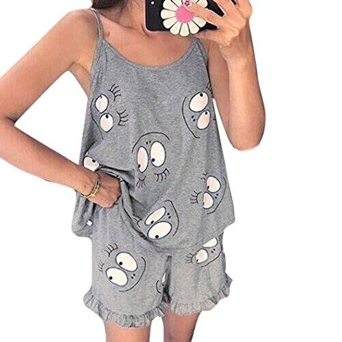 CLOOM ♥Frauen ärmellose Camisole Tops kurze Hosen Cartoon Print Frill Trim Pyjama Set Tragbarer zweiteiliger Pyjama Bequeme und süße Pyjamas Damen sexy Strap Pyjamas Geschenk zum Muttertag (S)