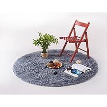 KYDJ La temporada de cosecha- pelo largo salón, dormitorio alfombra redonda silla giratoria Silla de ordenador acolchado, cojines, alfombra redonda ( Color : Gris claro , Tamaño: 160 cm ).