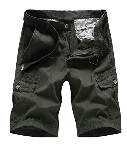 Gocgt Mens Casual Solid Multi-Pocket Army Cargo Shorts