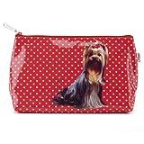 ExtraDesign Catseye Kulturtasche u. Kulturbeutel - Yorkshire Terrier auf Rot mit weißen Punkten
