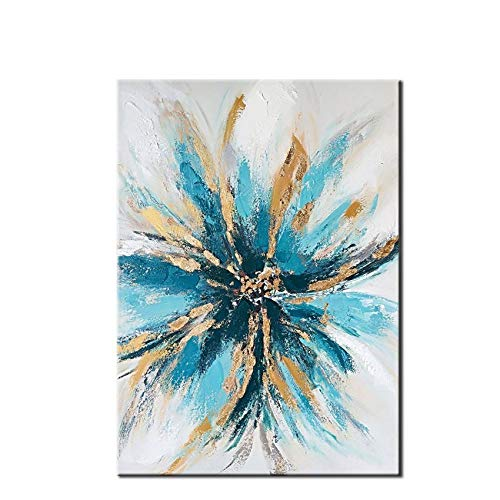 Dahuajia 100% dipinto a mano blu fiori d'oro paesaggio astratto wall art foto fatte a mano la pittura ad olio su tela artwork per camera casa decorazione 60 x 90 cm